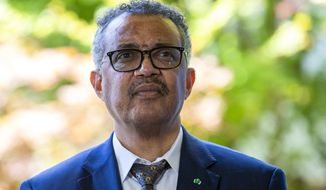 In this Thursday, June 25, 2020, file photo, Tedros Adhanom Ghebreyesus, director-general of the World Health Organization, attends a press conference at WHO headquarters in Geneva, Switzerland. (Salvatore Di Nolfi/Keystone via AP, File)