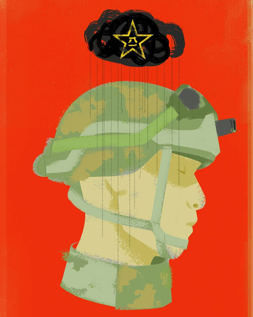 When China denies its soldiers' casualties and PLA illustration by The Washington Times