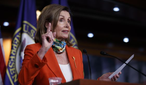 House Speaker Nancy Pelosi of Calif., speaks at a news conference on Capitol Hill in Washington, Friday, June 26, 2020. (AP Photo/Carolyn Kaster) **FILE**
