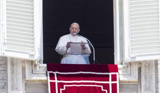 Pope Francis speaks during the Angelus prayer from his studio window overlooking St. Peter's Square, after celebrating a Mass for the Feast of Rome's Patrons Saints Peter and Paul, at the Vatican, Monday, June 29, 2020. (AP Photo/Riccardo De Luca)