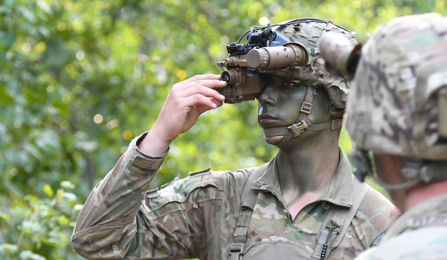 "A soldier at Fort Benning, Ga., tests out new ""Enhanced Night Vision Goggle-Binocular,"" or ENVG-B goggles in this U.S. Army photo from June 2020. The goggles already were outfitted with dual thermal and infrared sensing capabilities to deliver greater clarity to soldiers in the field, particularly in situations where their vision is compromised by weather or other factors. (U.S. Army)"