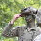 """A soldier at Fort Benning, Ga., tests out new """"Enhanced Night Vision Goggle-Binocular,"""" or ENVG-B goggles in this U.S. Army photo from June 2020. The goggles already were outfitted with dual thermal and infrared sensing capabilities to deliver greater clarity to soldiers in the field, particularly in situations where their vision is compromised by weather or other factors. (U.S. Army)"""
