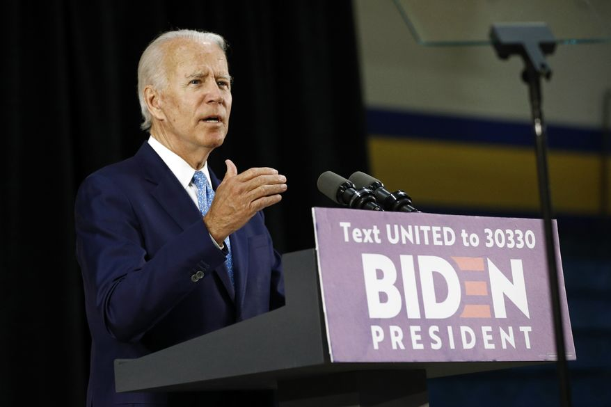 Democratic presidential candidate, former Vice President Joe Biden speaks at Alexis Dupont High School in Wilmington, Del., Tuesday, June 30, 2020. (AP Photo/Patrick Semansky) ** FILE **