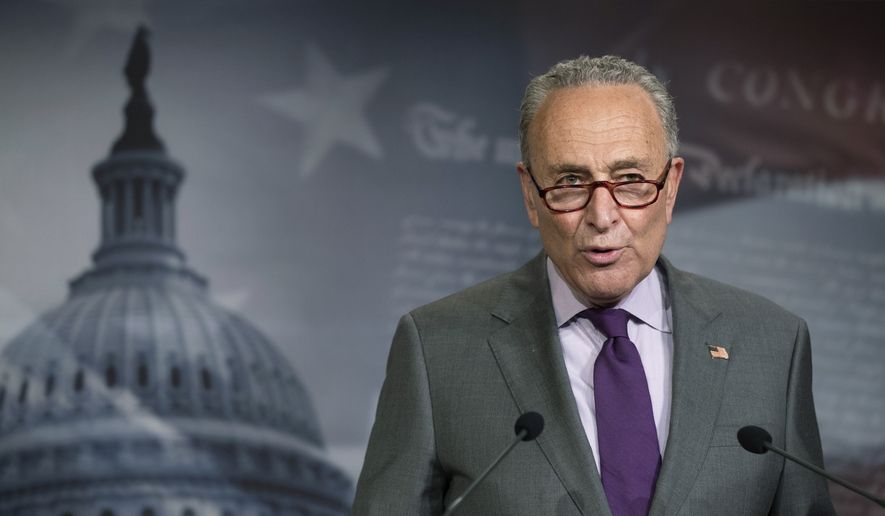In this file photo, Senate Minority Leader Chuck Schumer of N.Y., speaks during a news conference on Capitol Hill, Tuesday, June 30, 2020, in Washington. (AP Photo/Manuel Balce Ceneta)  ** FILE **