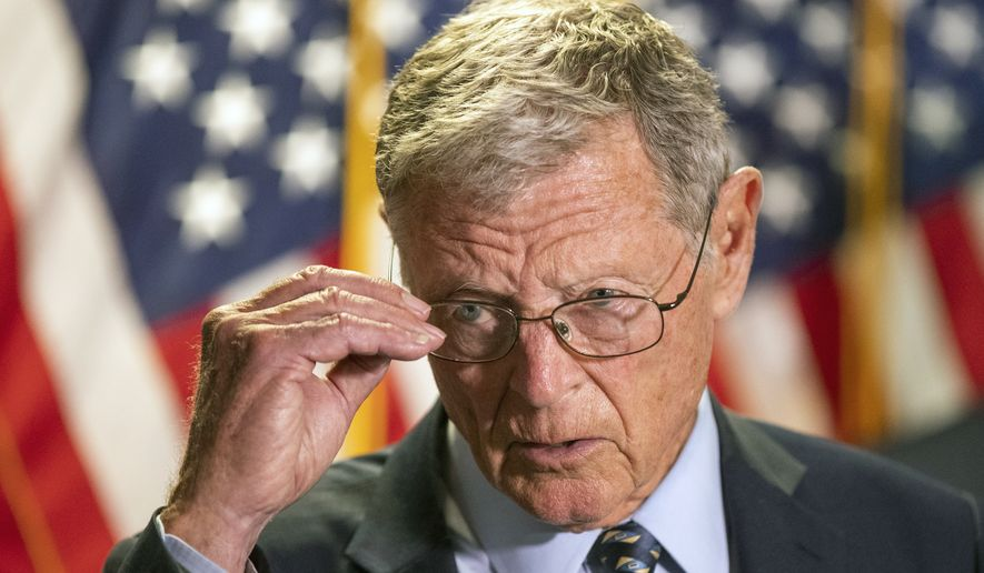Senate Armed Services Committee Chairman James Inhofe, R-Okla., speaks to reporters following a GOP policy meeting on Capitol Hill, Tuesday, June 30, 2020, in Washington. (AP Photo/Manuel Balce Ceneta)