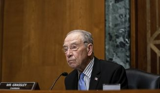 Senate Finance Committee Chairman Chuck Grassley, R-Iowa, speaks during a Senate Finance Committee hearing on Capitol Hill in Washington, Tuesday, June 30, 2020, on the 2020 filing season and COVID-19 recovery. (Anna Moneymaker/The New York Times via AP, Pool) **FILE**