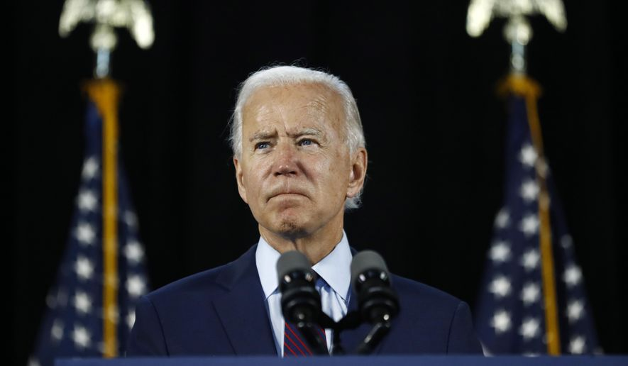 In this June 25, 2020, file photo Democratic presidential candidate, former Vice President Joe Biden pauses while speaking during an event in Lancaster, Pa. Biden and his leading supporters are stepping up warnings to Democrats to avoid becoming complacent. (AP Photo/Matt Slocum, File)