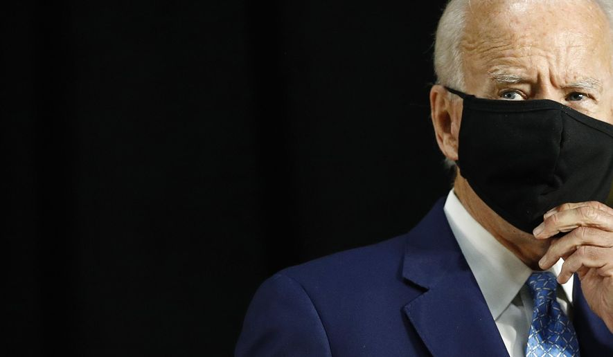 Democratic presidential candidate, former Vice President Joe Biden speaks at Alexis Dupont High School in Wilmington, Del., Tuesday, June 30, 2020. (AP Photo/Patrick Semansky)
