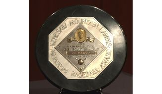 FILE - In this Jan. 22, 2006, file photo,a  Joe DiMaggio 1947 MVP Award Plaque is displayed at a news conference in New York. The plaque features the name and image of Kenesaw Mountain Landis. (AP Photo/Jennifer Szymaszek, File)  **FILE**
