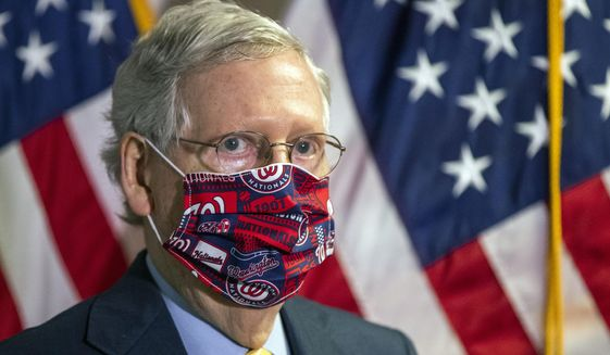 Senate Majority Leader Mitch McConnell, R-Ky., listens to questions during a news conference following a GOP policy meeting on Capitol Hill, Tuesday, June 30, 2020, in Washington. (AP Photo/Manuel Balce Ceneta)