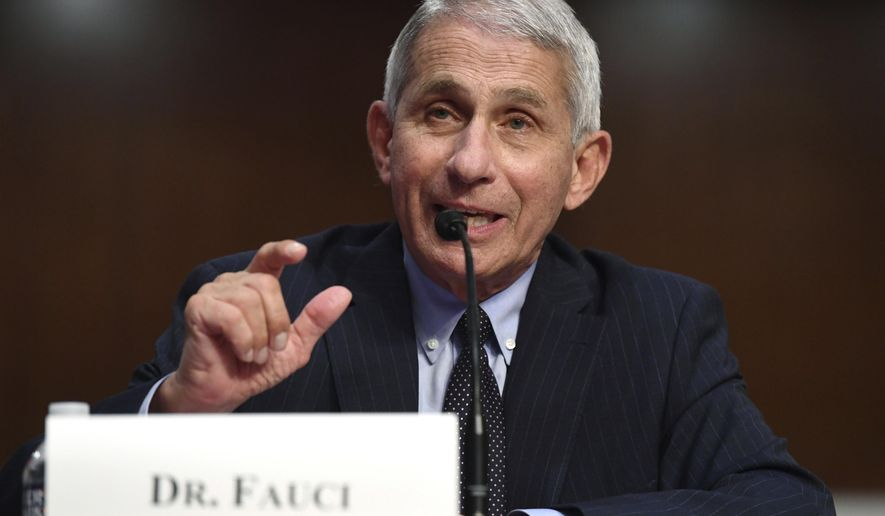 Dr. Anthony Fauci, director of the National Institute for Allergy and Infectious Diseases, testifies before a Senate Health, Education, Labor and Pensions Committee hearing on Capitol Hill in Washington, Tuesday, June 30, 2020. (Kevin Dietsch/Pool via AP)