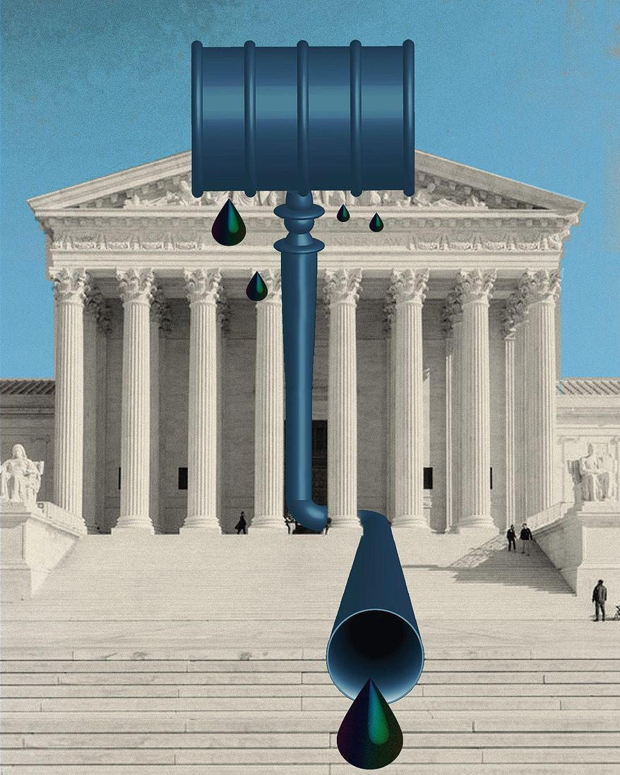 Illustration on the Supreme Court and energy policy by Linas Garsys/The Washington Times