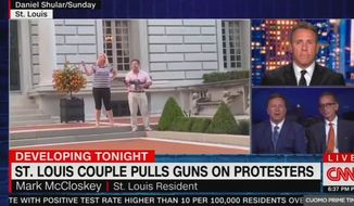 St. Louis homeowner Mark McCloskey talks with CNN's Chris Cuomo on June 30 about defending his home after a throng of Black Lives Matter activists busted through a gate onto his private property. (Image: CNN video screenshot)