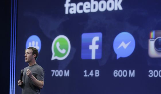 In this March 25, 2015, file photo, Facebook CEO Mark Zuckerberg gives the keynote address during the Facebook F8 Developer Conference in San Francisco. (AP Photo/Eric Risberg) ** FILE **