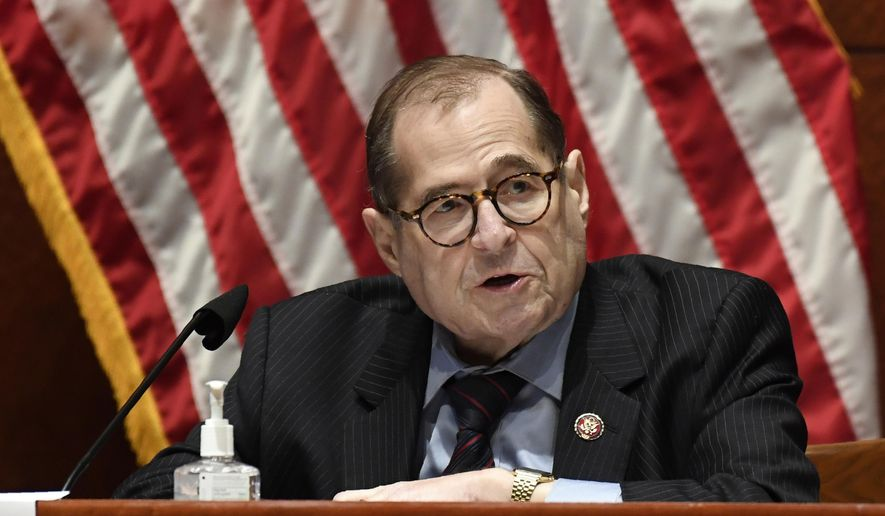 This June 24, 2020, file photo shows House Judiciary Committee Chairman Rep. Jerrold Nadler, D-N.Y., speaking during a hearing on Capitol Hill in Washington. (AP Photo/Susan Walsh, Pool, File)