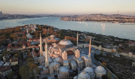 An aerial view of the Byzantine-era Hagia Sophia, one of Istanbul's main tourist attractions in the historic Sultanahmet district of Istanbul, Saturday, April 25, 2020. The 6th-century building is now at the center of a heated debate between conservative groups who want it to be reconverted into a mosque and those who believe the World Heritage site should remain a museum. (AP Photo)