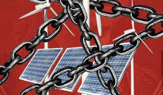 Illustration on tax credits for wind and solar by Linas Garsys/The Washington Times