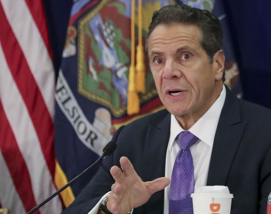 In this Oct. 17, 2019, photo, New York Gov. Andrew Cuomo addresses a regional summit of governors in New York. (AP Photo/Bebeto Matthews) **FILE**