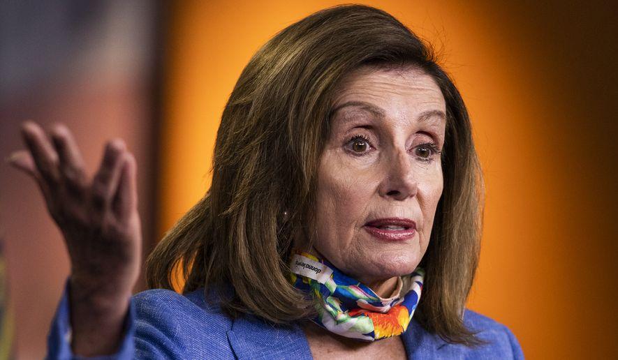 House Speaker Nancy Pelosi of Calif., speaks during a news conference on Capitol Hill, Thursday, July 2, 2020, in Washington. (AP Photo/Manuel Balce Ceneta) ** FILE **