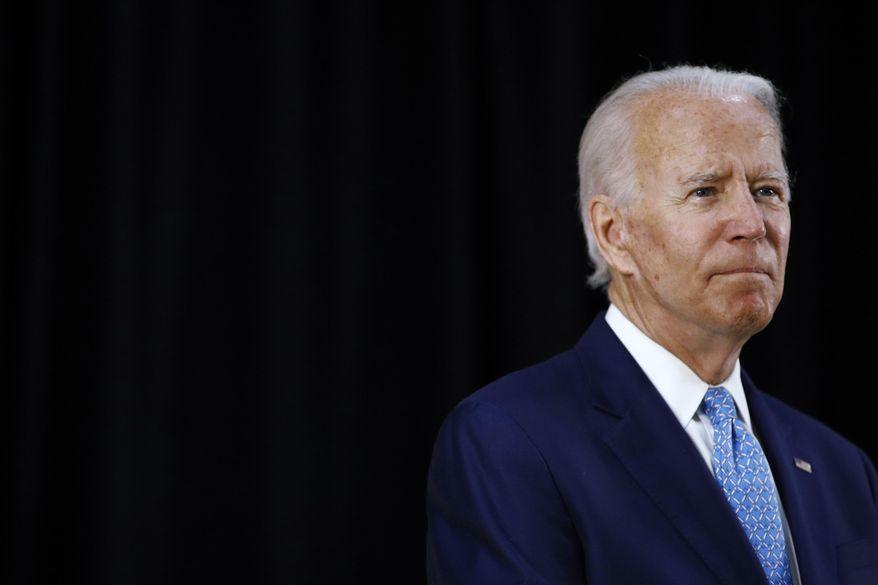 Democratic presidential candidate, former Vice President Joe Biden speaks at Alexis Dupont High School in Wilmington, Del., Tuesday, June 30, 2020. (AP Photo/Patrick Semansky)