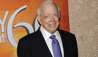 """This Jan. 12, 2012, photo shows Hugh Downs at the """"Today"""" show's 60th-anniversary celebration in New York. Downs, a genial and near-constant presence on television from the 1950s through the 1990s, has died. His family said Downs died of natural causes Wednesday, July 1, 2020, in Scottsdale, Ariz. He was 99. Downs was a host of the 'Today' show on NBC, worked on the 'Tonight' show when Jack Paar was in charge, and hosted the long-running game show """"Concentration."""" (AP Photo/Evan Agostini) **FILE**"""