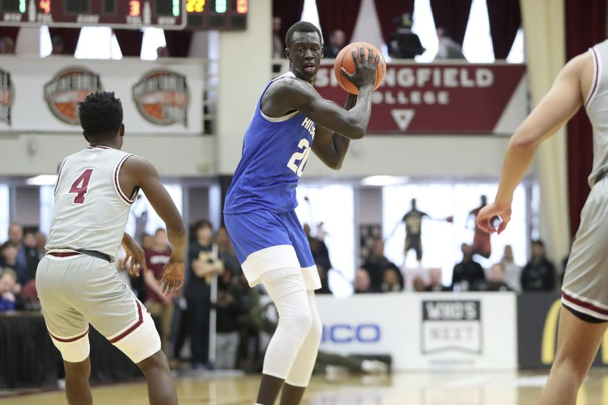 Hillcrest Prep's Makur Maker #20 in action against Sunrise Christian Academy during a high school basketball game at the Hoophall Classic, Sunday, January 19, 2020, in Springfield, MA. (AP Photo/Gregory Payan) **FILE**