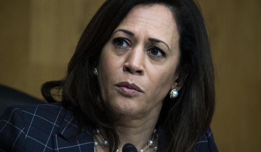 Sen. Kamala Harris, D-Calif., attends a Senate Homeland Security and Governmental Affairs Committee hearing on Capitol Hill in Washington. (Tom Williams/Pool via AP)