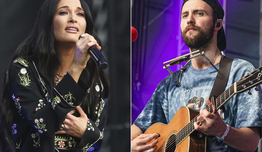 """Kacey Musgraves performs during the first weekend of the Austin City Limits Music Festival in Zilker Park on Oct. 6, 2019, in Austin, Texas, left, and Ruston Kelly performs at the Bonnaroo Music and Arts Festival on June 15, 2019, in Manchester, Tenn. Musgraves and Kelly have filed for divorce. In a joint statement, Musgraves and Kelly said """"we've made this painful decision together."""" Musgraves and Kelly, both 31, were married in 2017.  (Photo by Amy Harris/Invision/AP)"""