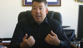 Outgoing Rapid City Police Department Chief Karl Jegeris reflects on his time with the Rapid City Police Dept. on Wednesday, June 24, 2020 in Rapid City, S.D. Jegeris is leaving the RCPD after more than 24 years of service to become the Director of Collaborative Excellence with the Children's Home Society of South Dakota. (Jeff Easton/Rapid City Journal via AP)