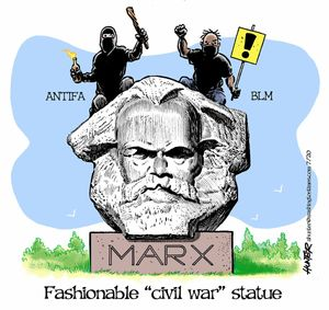 "Fashionable ""civil war"" statue"