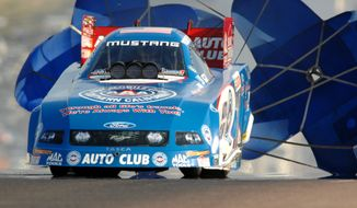 Auto Club of Southern California Ford Mustang grabbed the provisional number one qualifying spot in Funny Car after the first day of qualifying on Friday, July 13, 2007 at the 28th annual Mopar Mile-High NHRA Nationals at Bandimere Speedway in Morrison, Colorado. (AP Photo/Auto Imagery, HO)