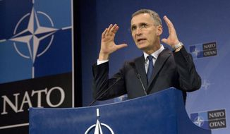 In this Feb. 16, 2017, file photo, NATO Secretary-General Jens Stoltenberg speaks during a media conference at NATO headquarters in Brussels. (AP Photo/Virginia Mayo, File)