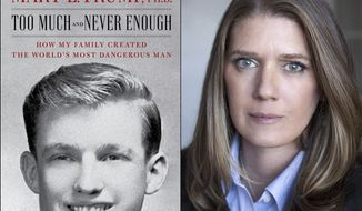 "This combination photo shows the cover art for ""Too Much and Never Enough: How My Family Created the Worlds Most Dangerous Man"", left, and a portrait of author Mary L. Trump, Ph.D. The book, written by the niece of President Donald J. Trump, was originally set for release on July 28, but will now arrive on July 14. (Simon & Schuster, left, and Peter Serling/Simon & Schuster via AP)"