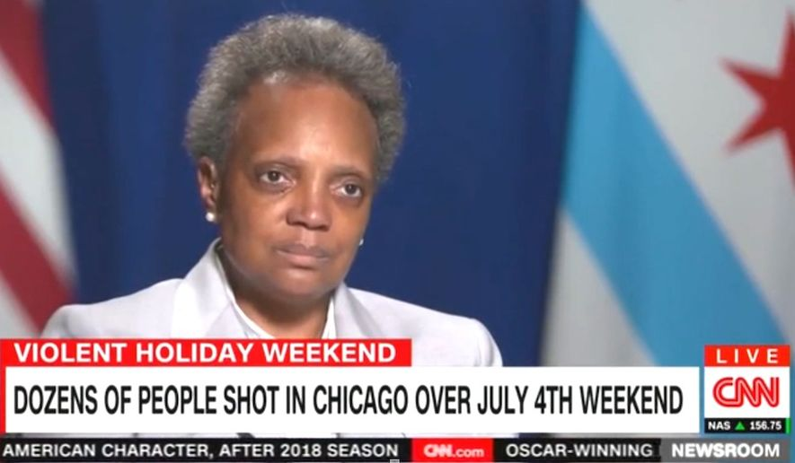 """Chicago Mayor Lori Lightfoot discusses the city's """"ecosystem of public safety"""" being disrupted by the coronavirus pandemic, July 6, 2020. (Image: CNN video screenshot)"""
