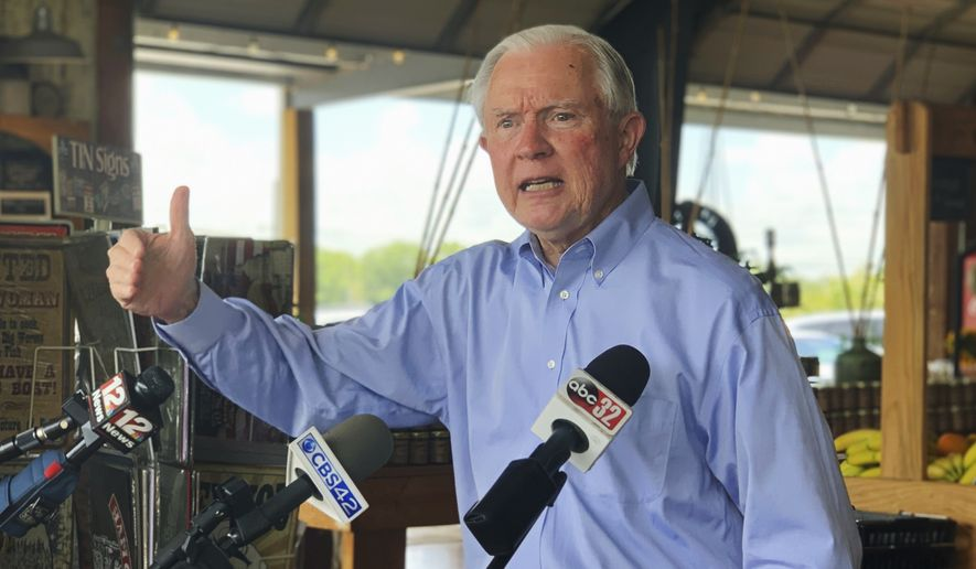 Former U.S. Attorney General Jeff Sessions speaks to reporters during a campaign stop at Sweet Creek restaurant and farmers market, south of Montgomery, Ala., Monday, July 6, 2020. Sessions faces former Auburn University football Coach Tommy Tuberville in the July 14 Republican runoff. Sessions held the seat for 20 years before resigning to become President Donald Trumps first attorney general. (AP Photo/Kim Chandler)