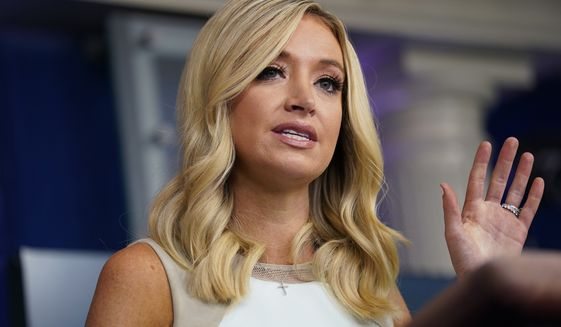 White House press secretary Kayleigh McEnany speaks during a press briefing at the White House, Monday, July 6, 2020, in Washington. (AP Photo/Evan Vucci)