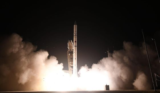 "In this photo released by Israel Ministry of Defense Spokesperson's Office, the ""Ofek 16"" reconnaissance satellite blasts off at the Palmachim air base in central Israel Monday, July 6, 2020. The new satellite, which quickly entered orbit, joins a collection of spy satellites that Israel has deployed in recent years. (Israel Ministry of Defense Spokesperson's Office via AP)"