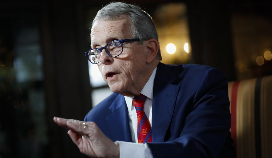This Dec. 13, 2019, photo shows Ohio Gov. Mike DeWine speaking about his plans for the coming year during an interview at the Governor's Residence in Columbus, Ohio. (AP Photo/John Minchillo) **FILE**