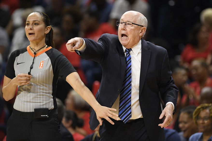 In this Sept. 17, 2019, file photo, Washington Mystics head coach Mike Thibault, right, gestures against the Las Vegas Aces during the second half of Game 1 of a WNBA playoff basketball series in Washington. Thibault knows that he could be at higher risk for severe illness if he gets the coronavirus because of his age. The 69-year-old coach didn't hesitate about going down to Florida with his team Monday, July 6, 2020, to prepare for the upcoming WNBA season. (AP Photo/Nick Wass, File)  **FILE**