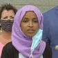 """Rep. Ilhan Omar discusses her plans to """"tear down"""" various systems within the U.S. due to linked """"oppression"""" found within all of them. The Minnesota Democrat talked about the economy, education, housing, and the criminal justice system that all needed to be dismantled,  July 7, 2020. (Image: PBS News Hour video screenshot)"""