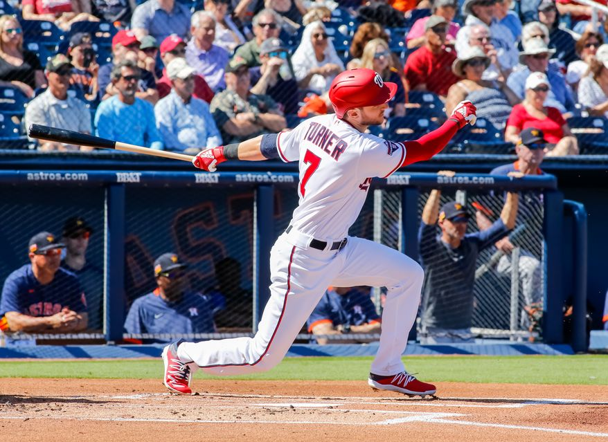 Washington Nationals shortstop Trea Turner swings during a spring training game against the Houston Astros on Sunday, Feb. 23, 2020 in West Palm Beach, Florida. (Photo by All-Pro Reels)