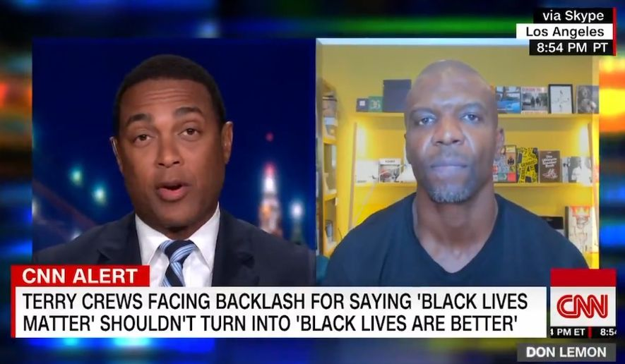 CNN anchor Don Lemon lectured actor and former NFL star Terry Crews about the real purpose of the Black Lives Matter movement after Mr. Crews criticized activists for ignoring the recent spate of Black child deaths. (Screen grab via CNN)
