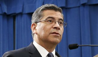 In this Feb. 15, 2019, file photo, California Attorney General Xavier Becerra speaks at a news conference in Sacramento, Calif. (AP Photo/Rich Pedroncelli, File)