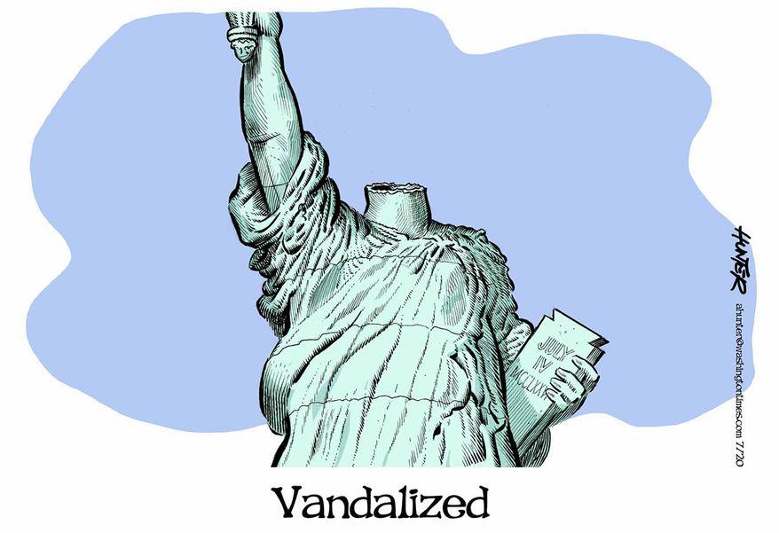 Illustration by Alexander Hunter for The Washington Times (published July 8, 2020)