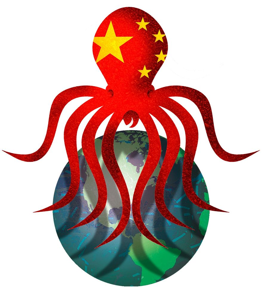 Illustration on the reality of Communist China's intentions by Alexander Hunter/The Washington Times