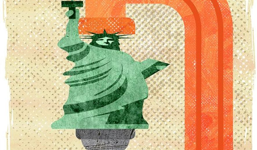 Liberty Squeezed Illustration by Greg Groesch/The Washington Times
