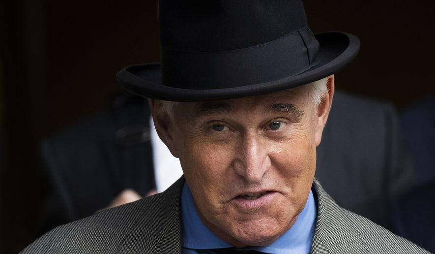 In this Nov. 12, 2019, file photo, Roger Stone leaves federal court in Washington. On July 10, 2020, President Trump said he was considering whether to pardon Mr. Stone or at least commute his sentence. (AP Photo/Manuel Balce Ceneta, File)