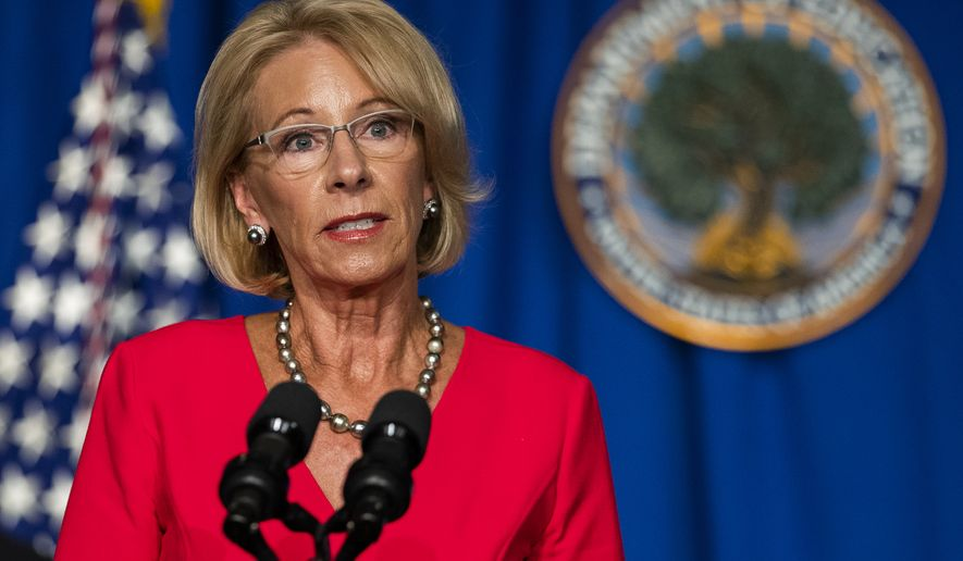 Education Secretary Betsy DeVos speaks during a White House Coronavirus Task Force briefing at the Department of Education building Wednesday, July 8, 2020, in Washington. (AP Photo/Manuel Balce Ceneta)