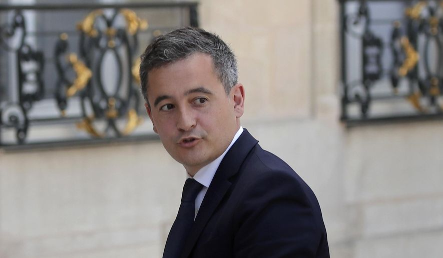 Newly appointed Interior Minister Gerald Darmanin arrives at the Elysee Palace for the weekly cabinet meeting, in Paris, France, Tuesday July 7, 2020. Darmanin has been appointed as the new Interior Minister after the government of Edouard Philippe had resigned on July 3, 2020, prompting a government and cabinet reshuffle. (AP Photo/Francois Mori)