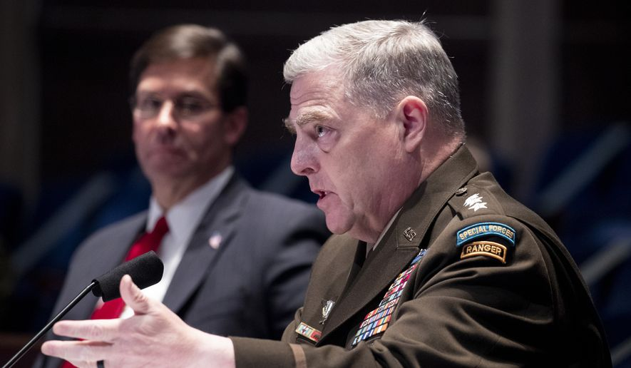 Defense Secretary Mark Esper, left, listens as Chairman of the Joint Chiefs of Staff Gen. Mark Milley testifies during a House Armed Services Committee hearing on Thursday, July 9, 2020, on Capitol Hill in Washington. (Michael Reynolds/Pool via AP) ** FILE **